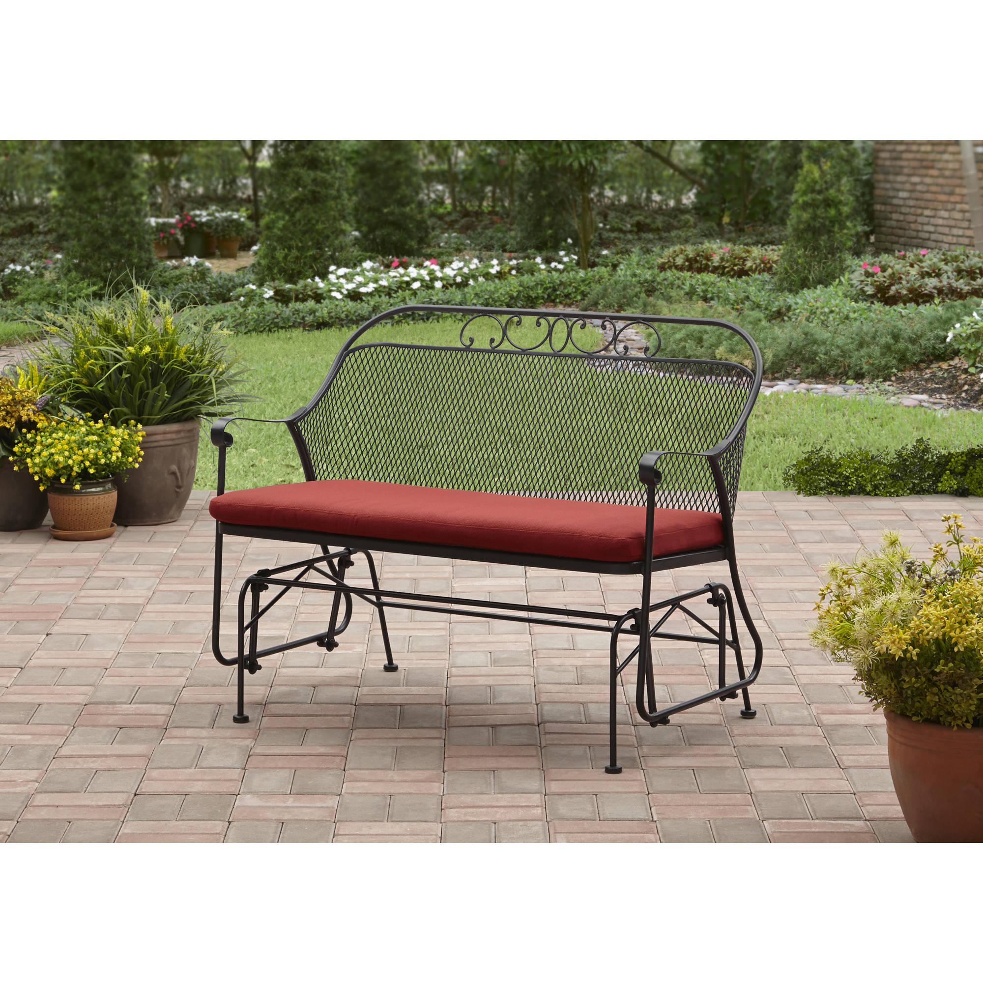 Loveseat Glider Benches With Cushions With Regard To Trendy Better Homes & Gardens Clayton Court Outdoor Glider, Red – Walmart (View 7 of 30)