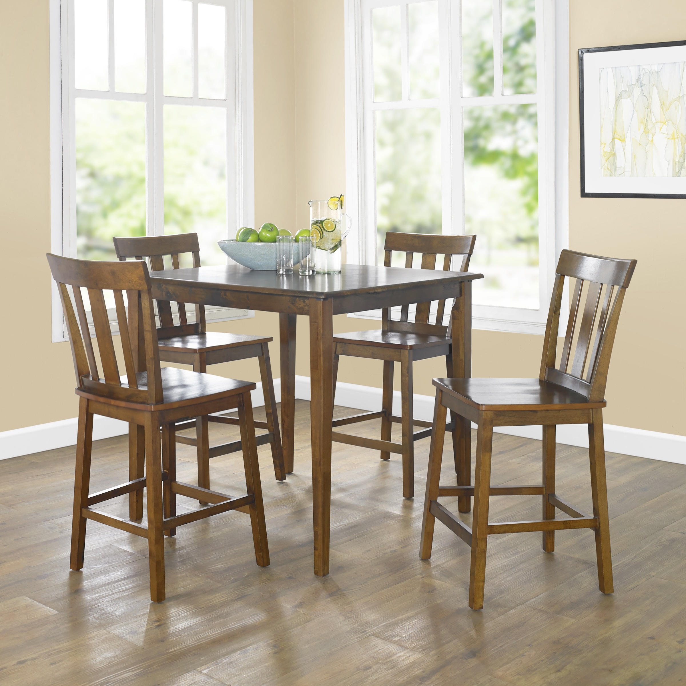 Mainstays 5 Piece Mission Counter Height Dining Set Within Well Known Bistro Transitional 4 Seating Square Dining Tables (Gallery 22 of 30)