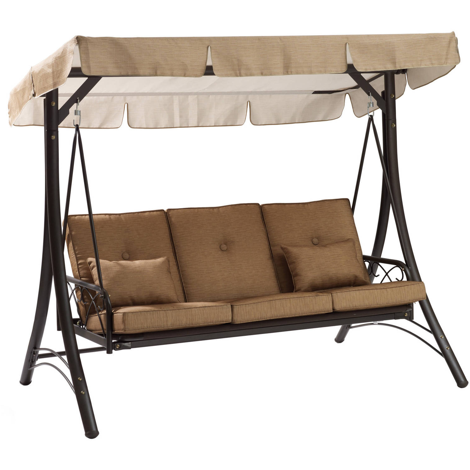 Mainstays Lawson Ridge Converting Outdoor Swing/hammock In Fashionable 3 Seater Swings With Frame And Canopy (View 29 of 30)