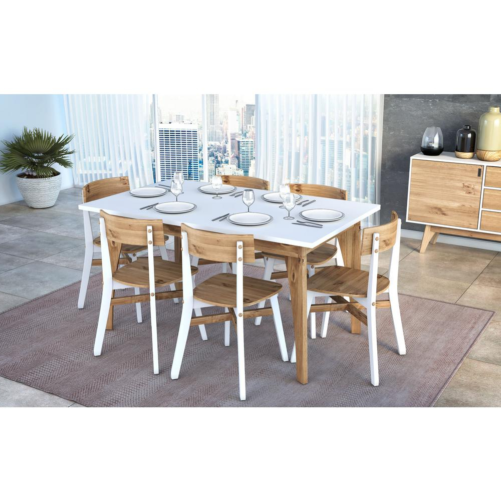 Manhattan Comfort Jackie White And Natural Wood 6 Seat With Regard To Most Popular Rustic Mid Century Modern 6 Seating Dining Tables In White And Natural Wood (View 10 of 30)