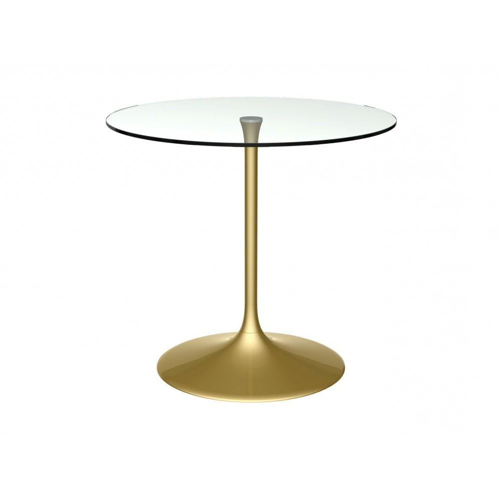 Medium Dining Tables Inside Best And Newest Pedestal Medium Dining Table Clear Glass And Brass (View 25 of 30)