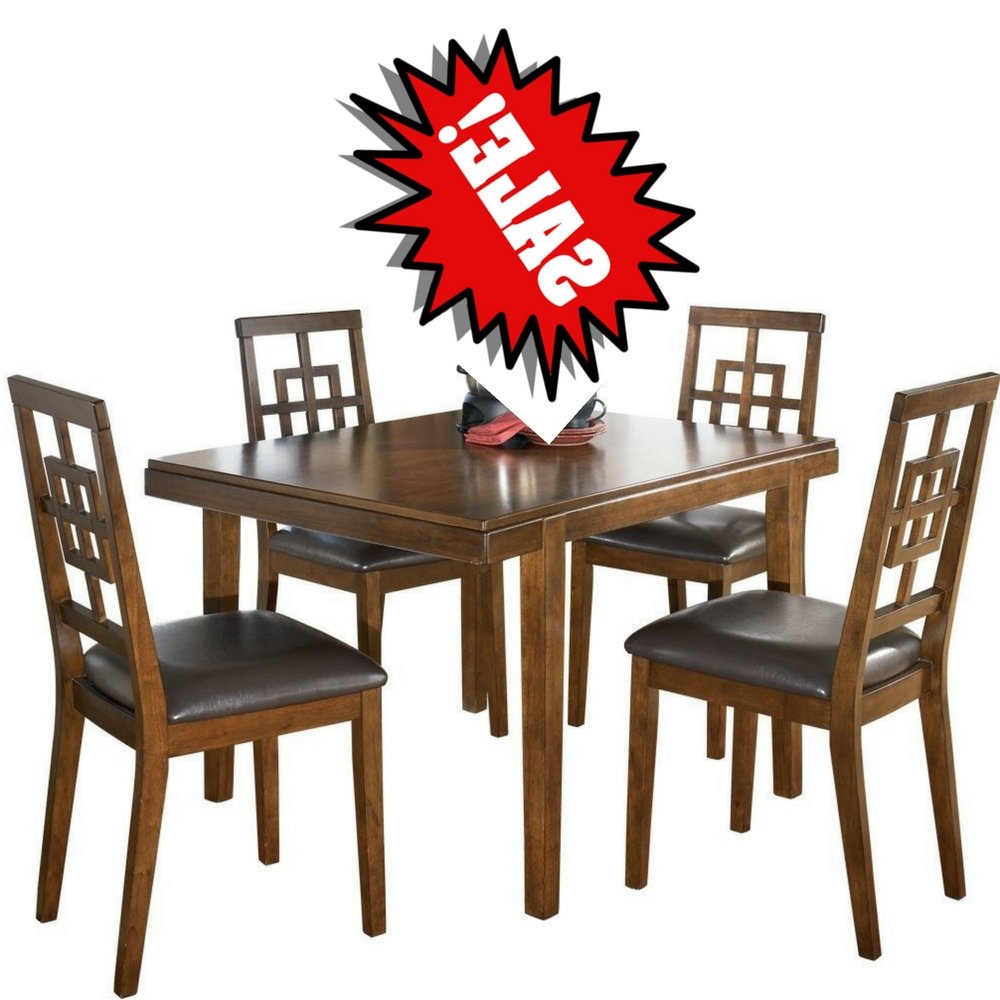 Medium Elegant Dining Tables In Latest Amazon – 5pc Dining Room Set 4seat Medium Brown Modern (Gallery 12 of 30)