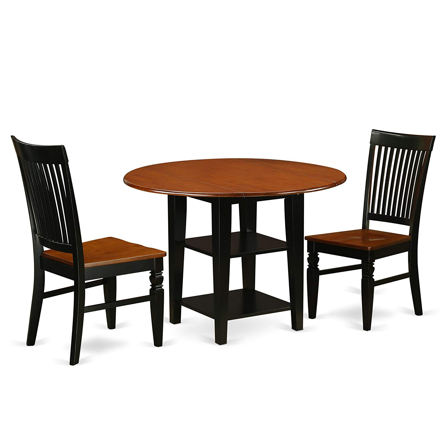 Medium Elegant Dining Tables Throughout Most Recent East West Furniture Suwe3 Bch W Dining Set Medium Black & Cherry (Gallery 14 of 30)