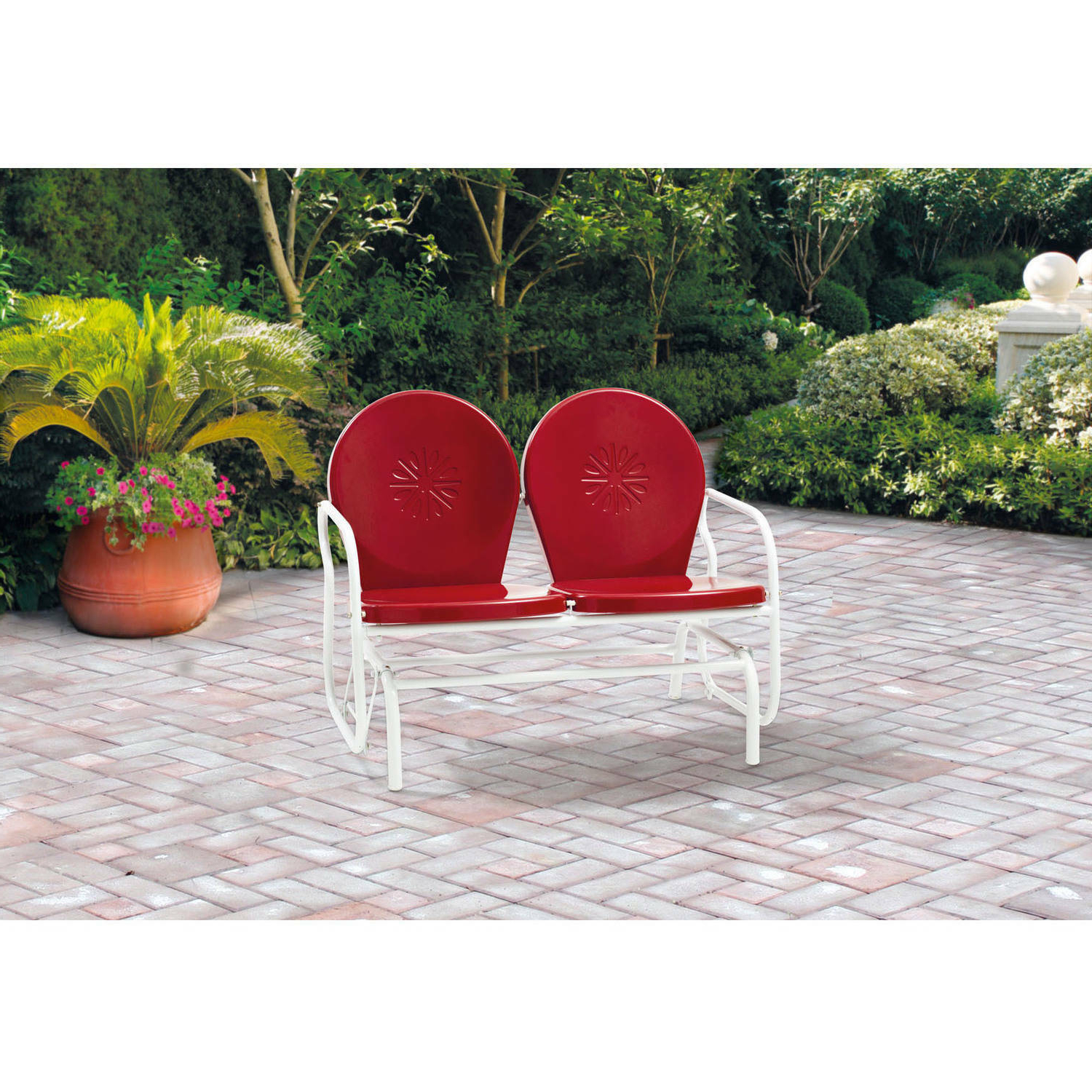 Metal Powder Coat Double Seat Glider Benches In Trendy Retro Metal Glider Garden Seating Outdoor Furniture Yard Patio Red Chair Seats 2 (Gallery 12 of 30)