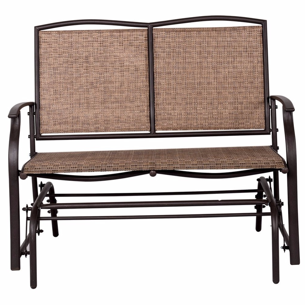 Metal Powder Coat Double Seat Glider Benches Regarding Newest Outdoor Steel Loveseat Double Swing Glider Rocking Chair – Buy Swing Glider  Bench,glider Rocking Chair,double Swing Chair Product On Alibaba (View 17 of 30)