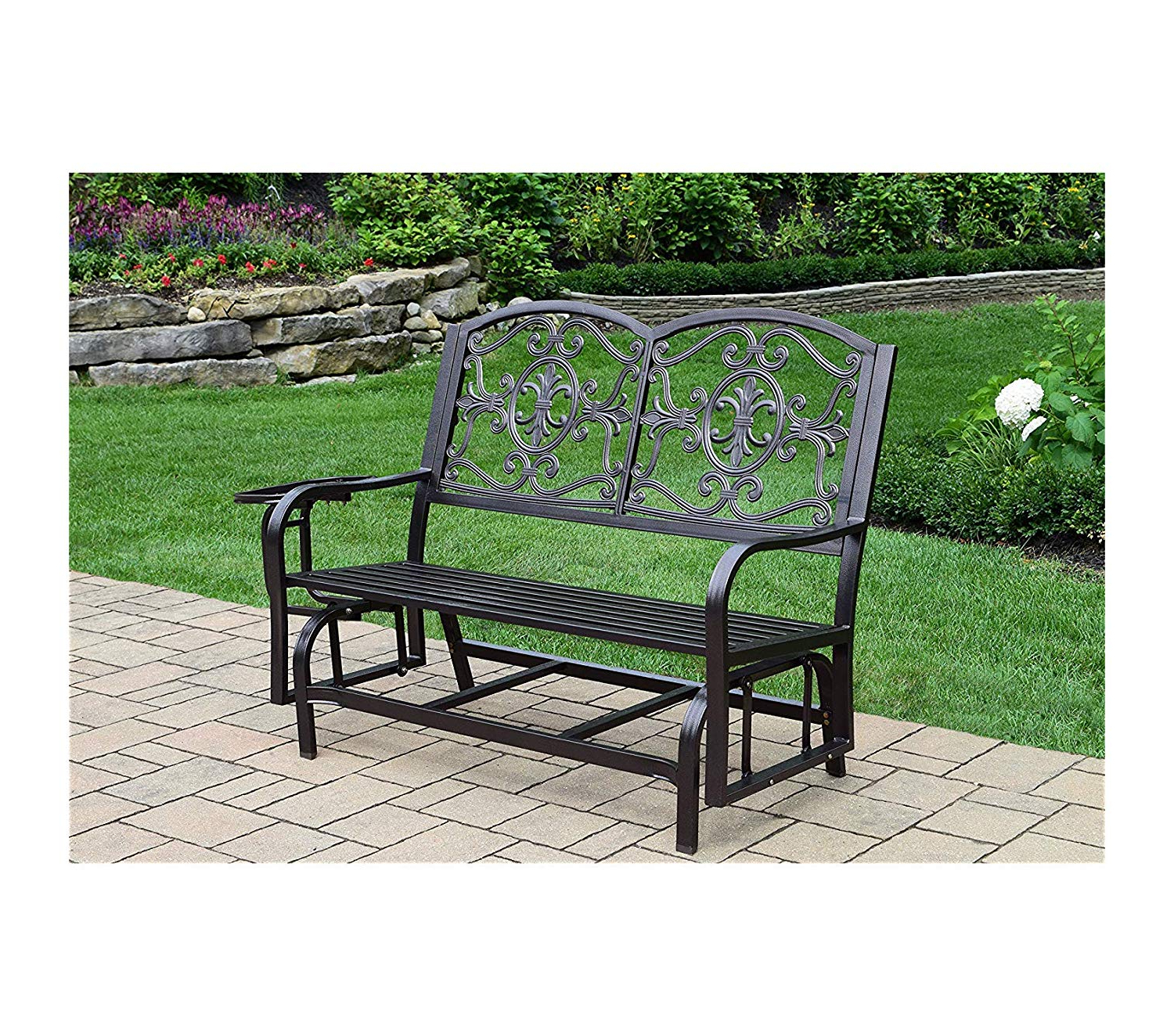 Metal Powder Coat Double Seat Glider Benches With Newest Amazon: Wood & Style Patio Outdoor Garden Premium (View 19 of 30)