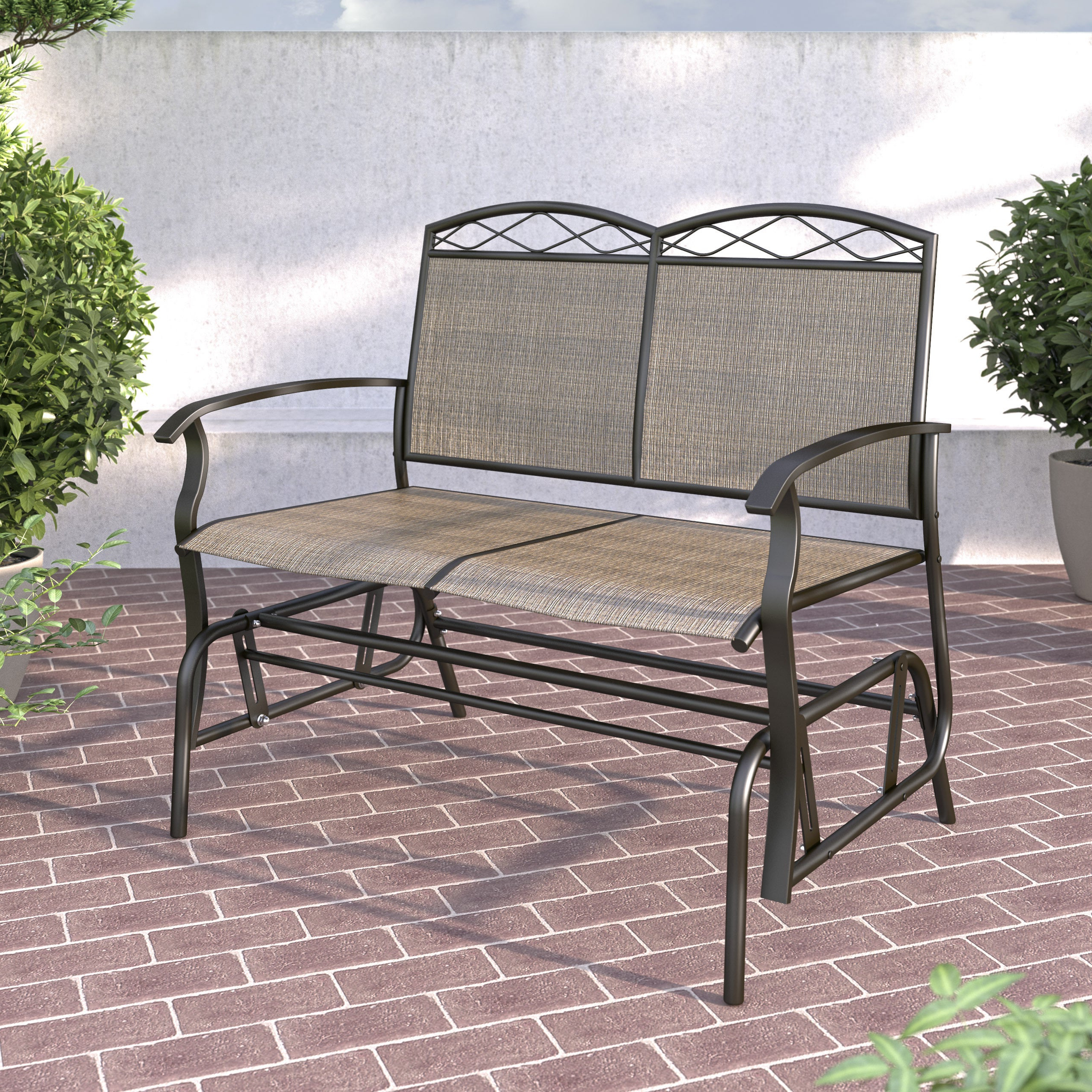 Metal Powder Coat Double Seat Glider Benches Within Latest Havenside Home Fox Bay Speckled Brown Patio Double Glider (View 21 of 30)