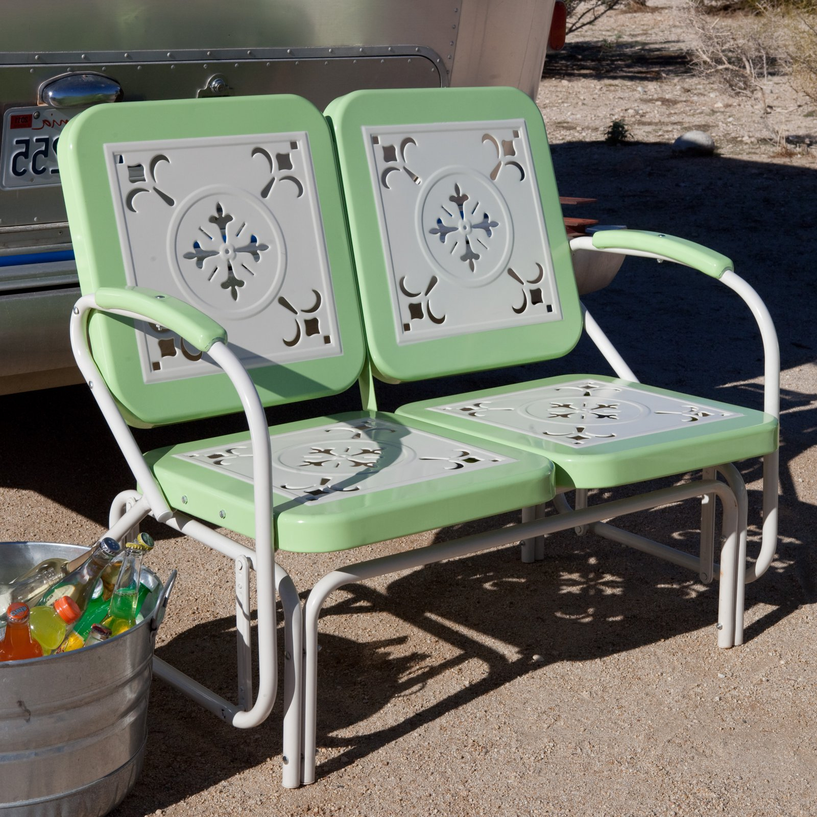 Metal Retro Glider Benches Pertaining To 2019 Coral Coast Paradise Cove Retro Metal Outdoor Glider (Gallery 30 of 30)