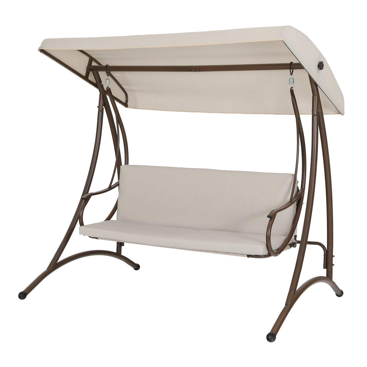 Mf Studio 3 Person Outdoor Large Convertible Canopy Swing Intended For Most Current 2 Person Outdoor Convertible Canopy Swing Gliders With Removable Cushions Beige (Gallery 3 of 30)