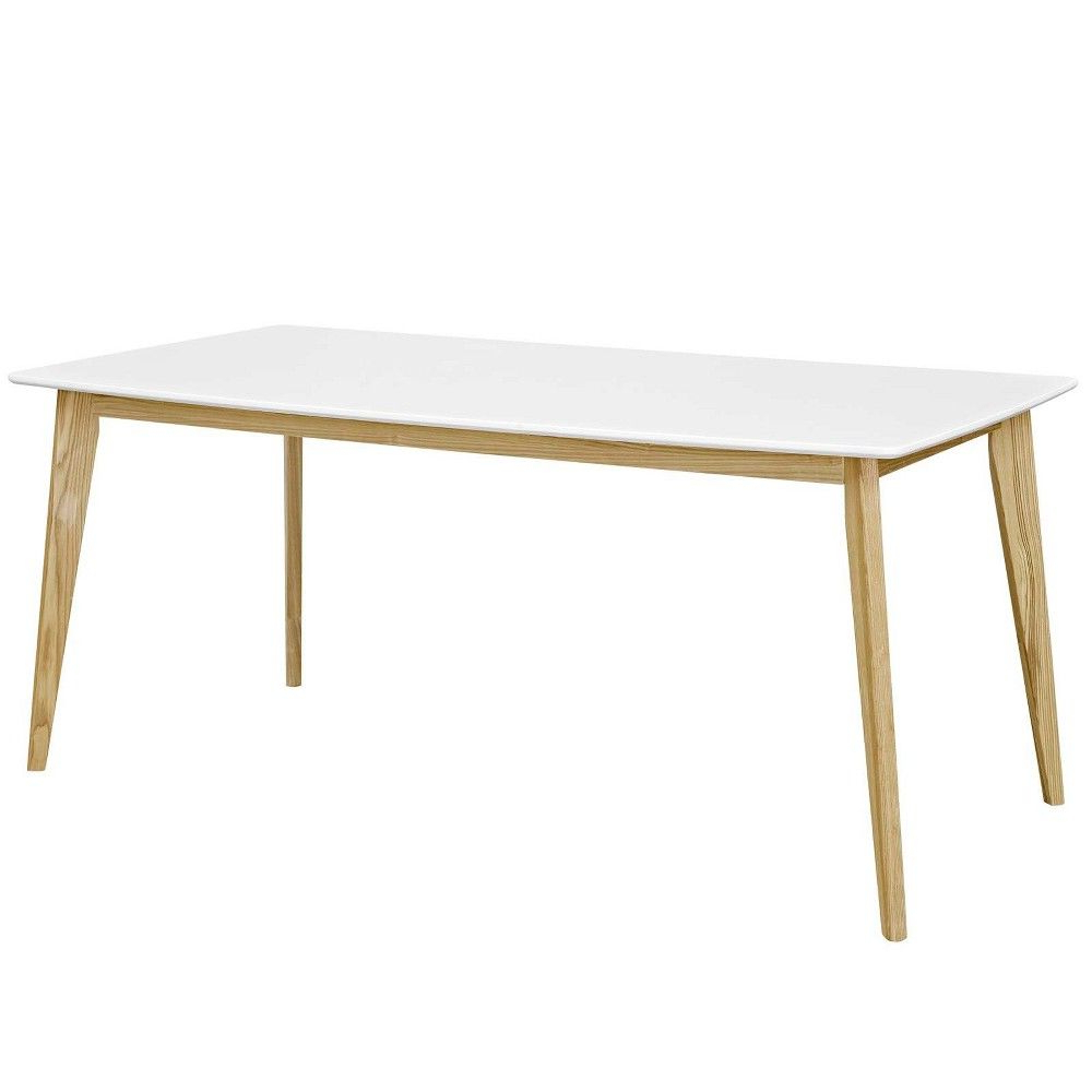 "Mid Century Rectangular Top Dining Tables With Wood Legs In Latest Stratum 71"" Dining Table White – Modway In (View 6 of 30)"