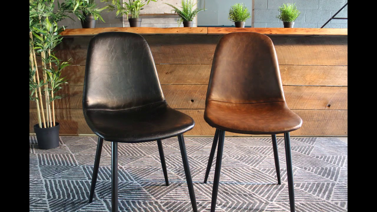 Milan Eames Style Brown Vintage Leather Dining Chair With Black Metal Legs Pertaining To Widely Used Eames Style Dining Tables With Wooden Legs (View 18 of 30)