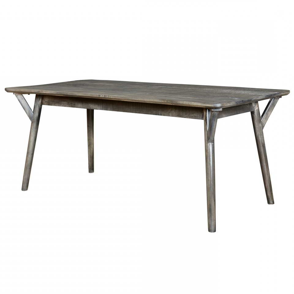 Mira Rectangular Dining Table In Distressed Grey Pertaining To Trendy Distressed Grey Finish Wood Classic Design Dining Tables (Gallery 6 of 30)