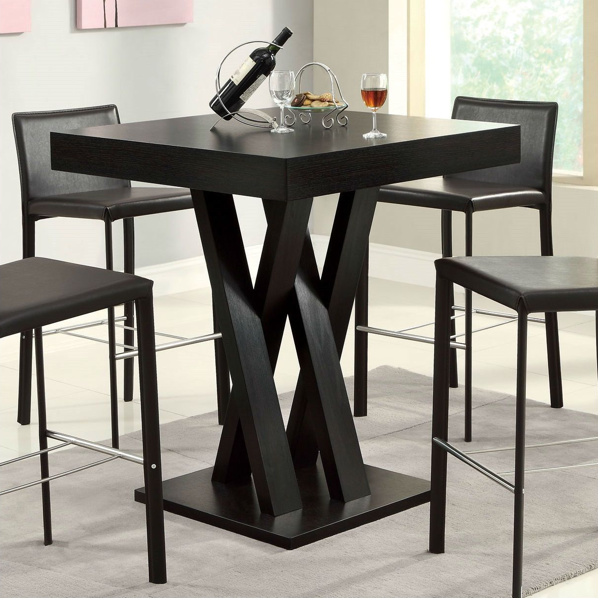 Modern 40 Inch High Square Dining Table In Dark Cappuccino With Regard To Well Liked Patio Square Bar Dining Tables (View 11 of 30)