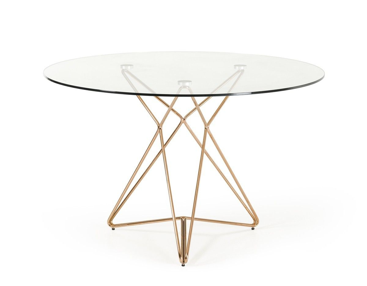 Modern Clear Round Glass Top Gold Stainless Steel Base Intended For Recent Eames Style Dining Tables With Chromed Leg And Tempered Glass Top (View 14 of 30)