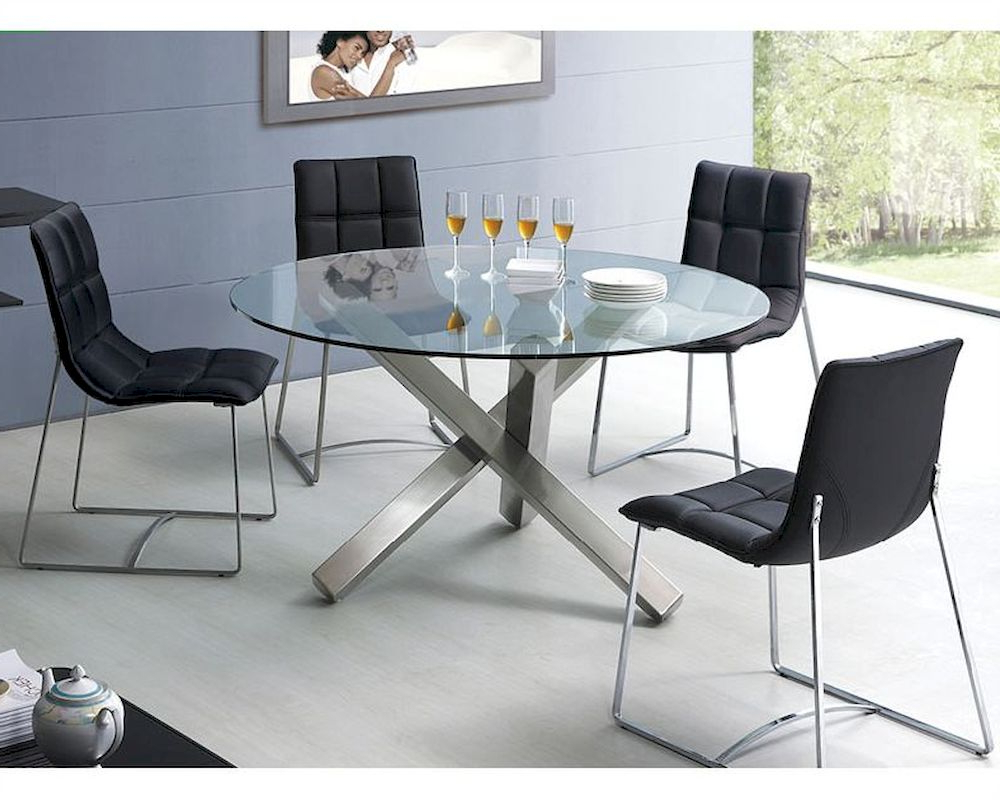 Modern Dining Set Round Glass Top Table European Design 33d231 Pertaining To 2018 Modern Round Glass Top Dining Tables (View 9 of 30)