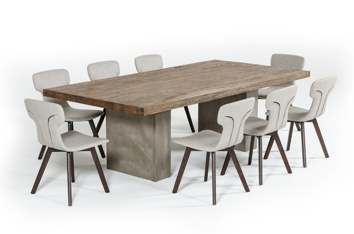 "Modern Dining Tables With 2018 Modrest Renzo Modern Oak & Concrete 118"" Dining Table (View 15 of 30)"