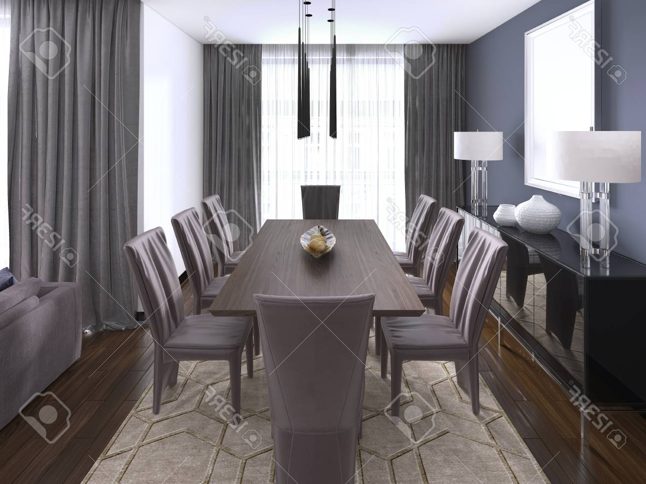 Modern Dining Tables With Regard To Most Recent Luxurious Modern Dining Room Boasts A Wood Dining Table Illuminated. (View 26 of 30)