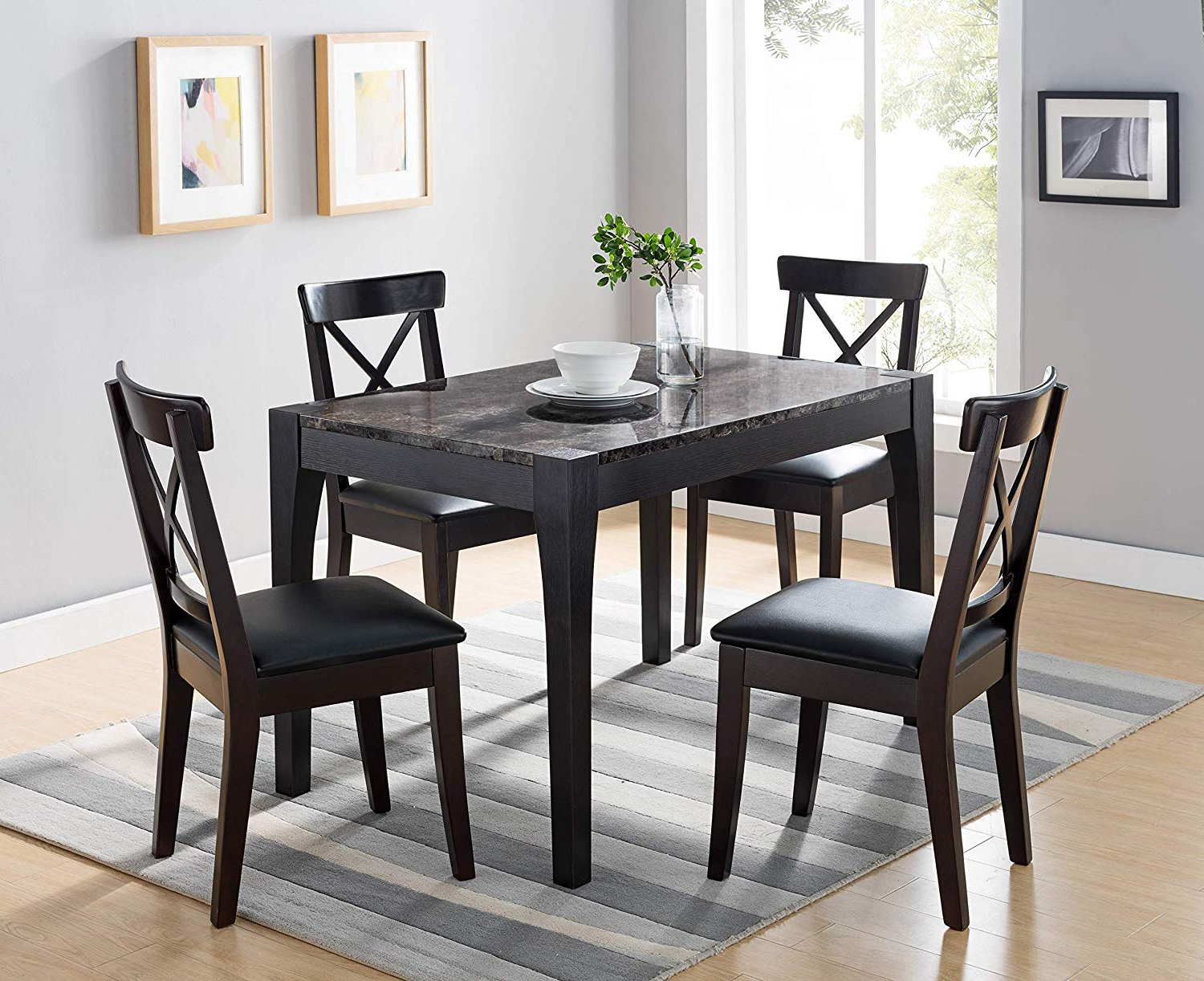 Modern Dining Tables Within Latest Amazon – 161799 Dining Room Table (black And Faux Black (View 3 of 30)