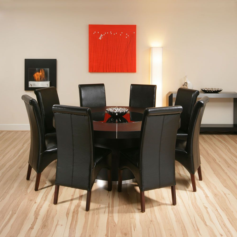 Modern Elegant Large Round Dining Tables Black Leather Inside 2017 Elegance Large Round Dining Tables (View 8 of 30)