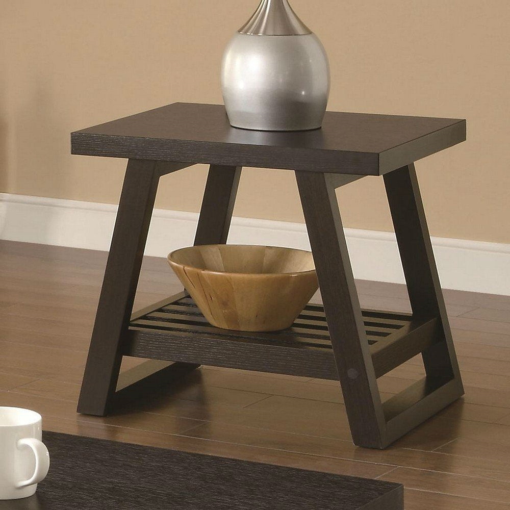 Modern End Table In Dark Brown Cappuccino Finish Pertaining To Widely Used Cappuccino Finish Wood Classic Casual Dining Tables (View 18 of 30)