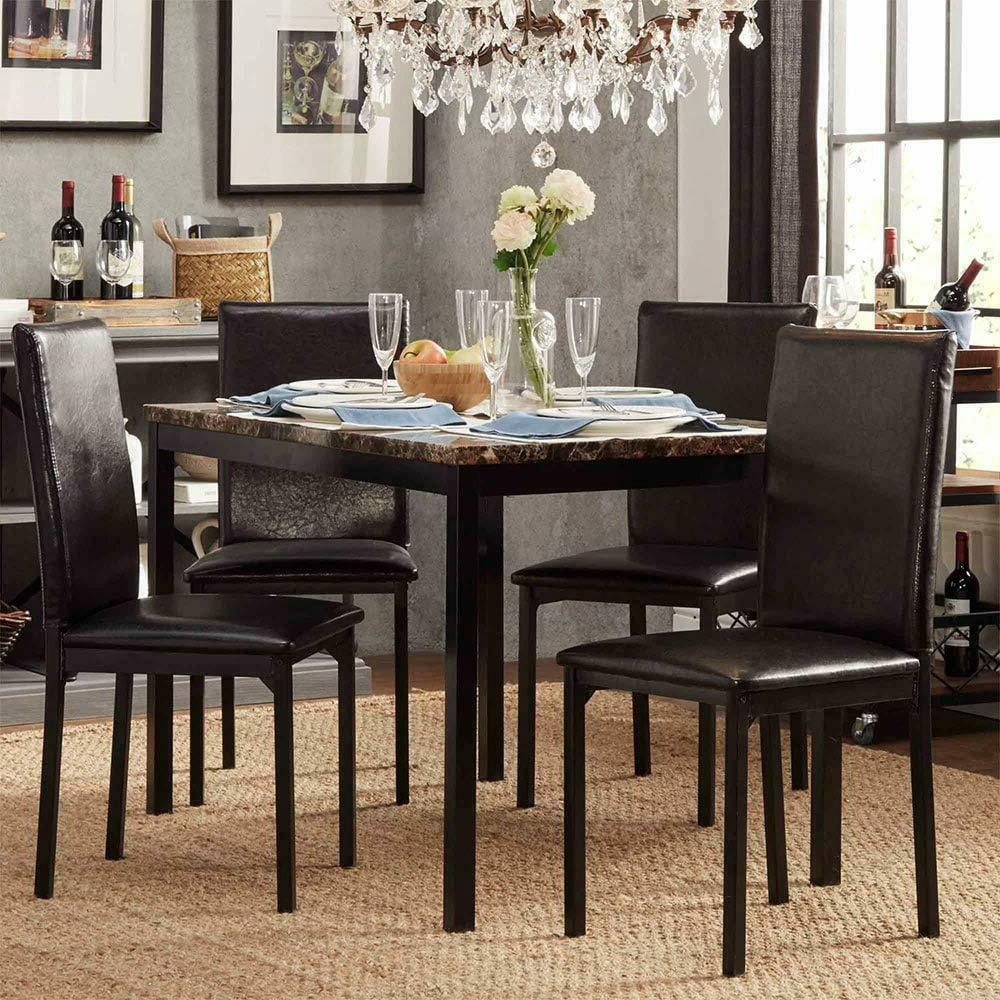 Modern Faux Marble Top Metal Frame 5 Piece Dining Set – Black Finish With Famous Faux Marble Finish Metal Contemporary Dining Tables (View 15 of 30)