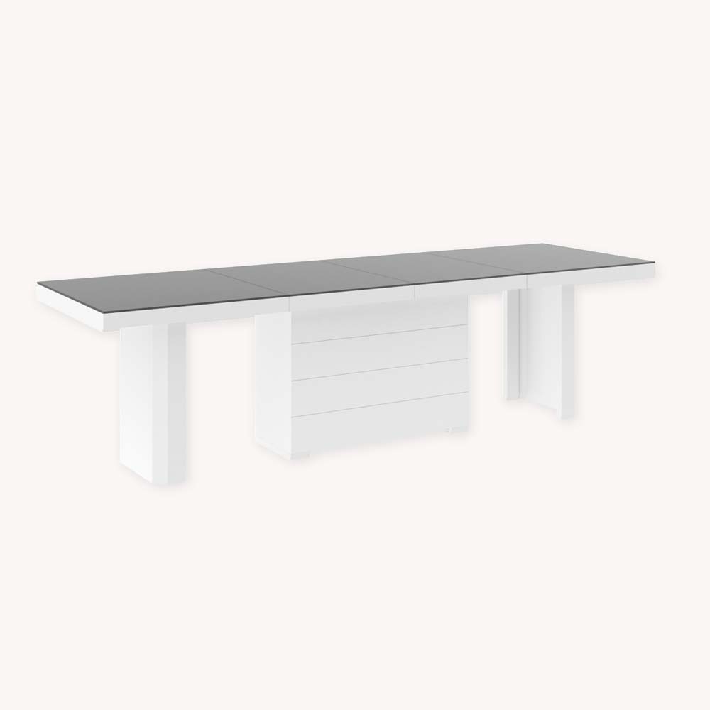 Modern Glass Top Extension Dining Tables In Matte Black In Most Current Extendable Dining Table Up To 412 Cm! – Blake – Grey Matt & White High Gloss (View 15 of 30)