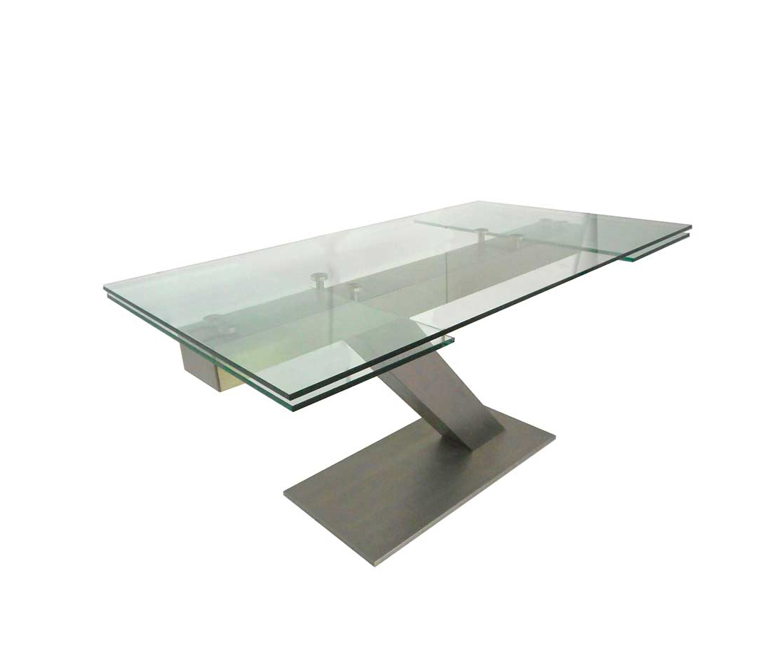 Modern Glass Top Extension Dining Tables In Stainless Intended For Well Liked Extendable Glass Table In Stainless Steel Estyle 874 (Gallery 24 of 30)