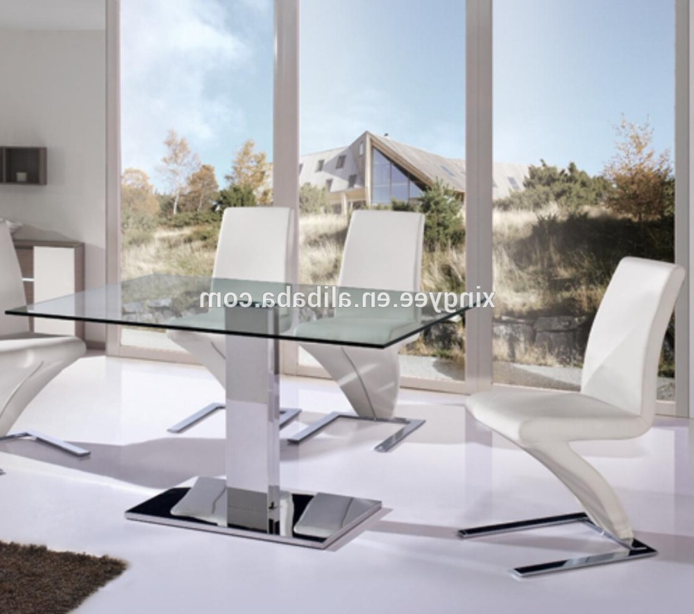 Modern Glass Top Extension Dining Tables In Stainless Throughout Popular Modern Living Dining Furniture Homes Dining Table Stainless Steel Centre Table Design Tempered Glass Top Luxury Dining Table Set – Buy Stainless Steel (Gallery 26 of 30)
