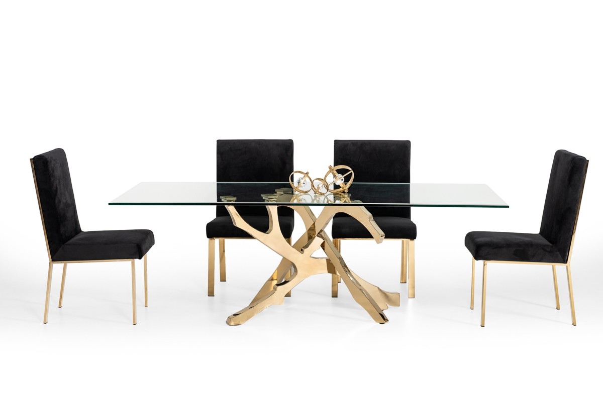 Modern Gold Dining Tables With Clear Glass For Most Current Modrest Legend Modern Glass & Gold Dining Table (View 8 of 30)