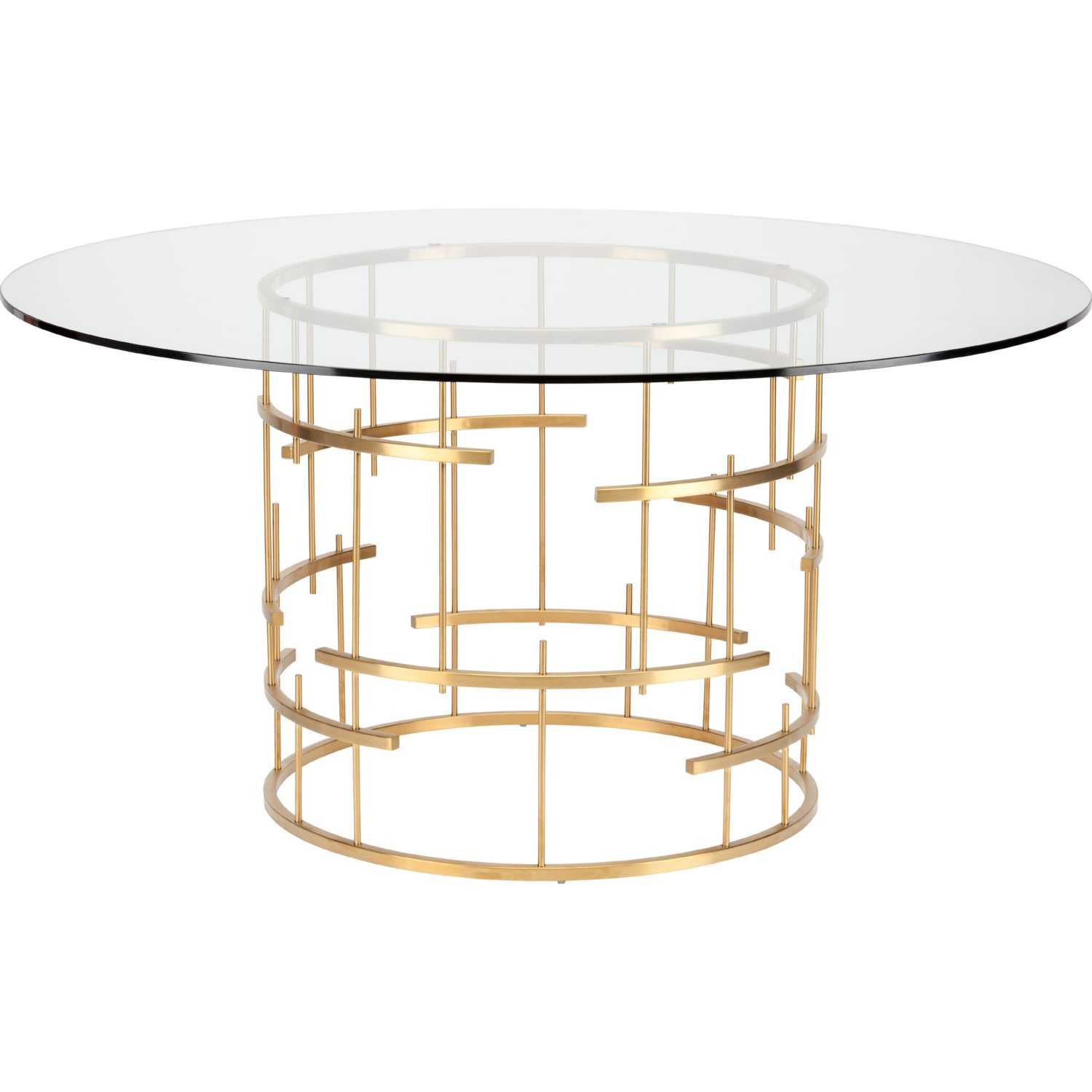 Modern Gold Dining Tables With Clear Glass Intended For Preferred Round Dining Table With Metal Base Image Collections – Round (Gallery 29 of 30)