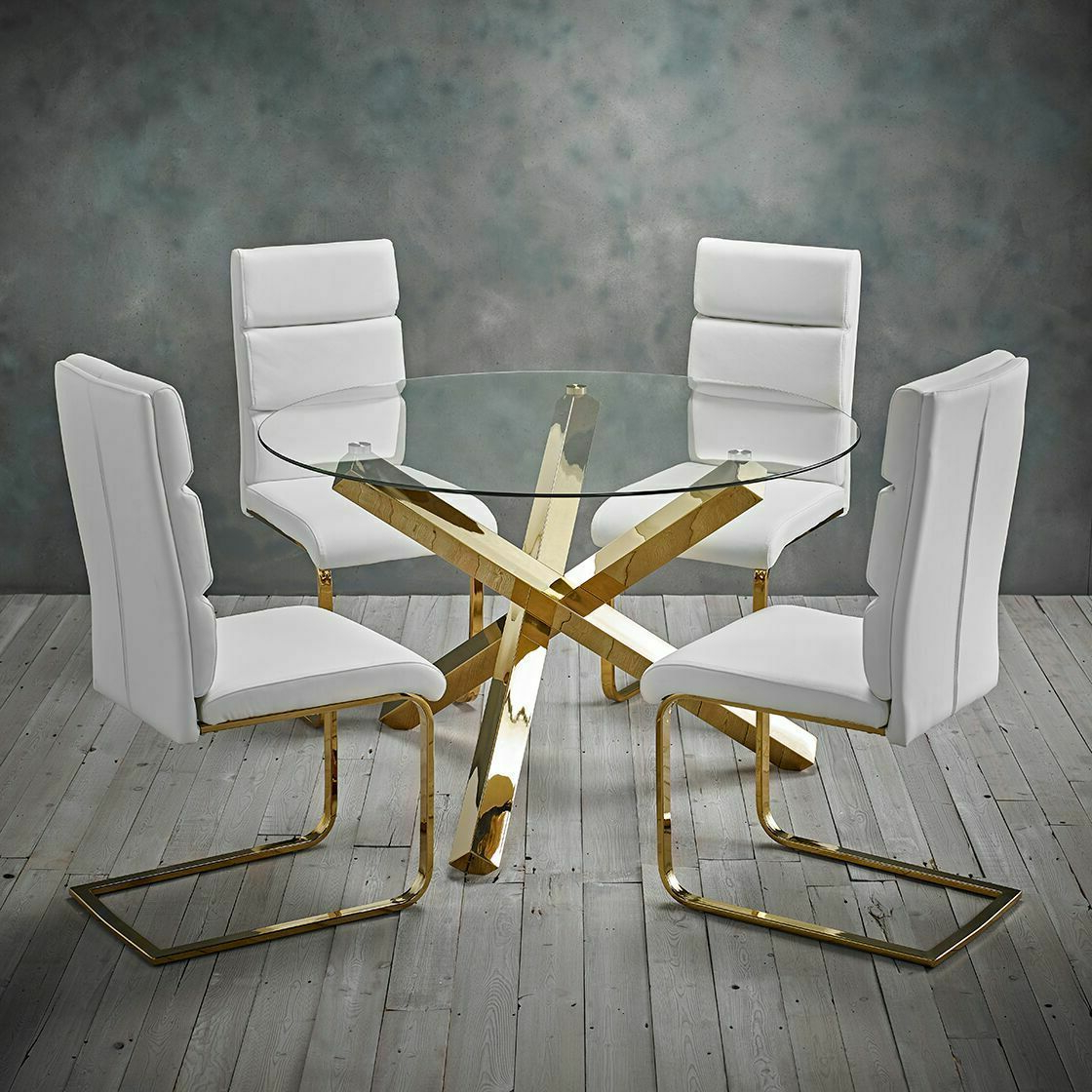 Modern Polished Gold Round Clear Glass Dining Table With Well Liked Modern Gold Dining Tables With Clear Glass (View 14 of 30)