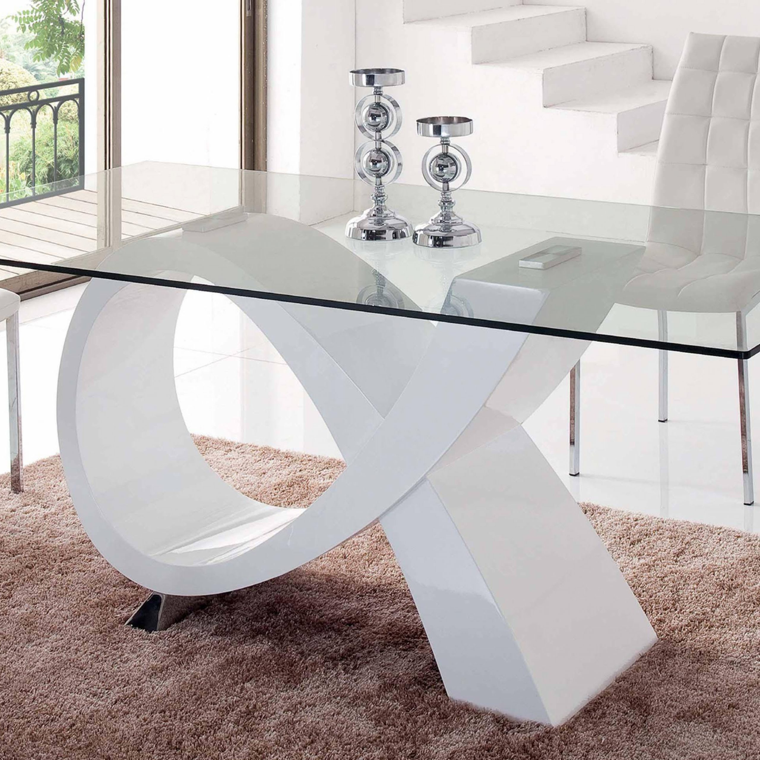 Modern Rectangular Glass Top High Gloss Finish White Dining Within Well Known Rectangular Glasstop Dining Tables (Gallery 8 of 30)