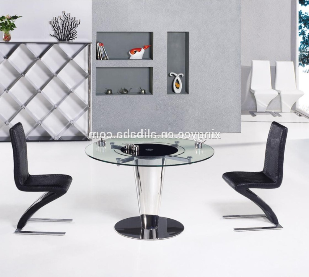 Modern Round Dining Room Table Furniture Design Rotating Centre Dining  Table Tempered Glass Top Swivel Dining Table Set – Buy Round Dining Table  With Regarding Preferred Round Dining Tables With Glass Top (View 7 of 30)