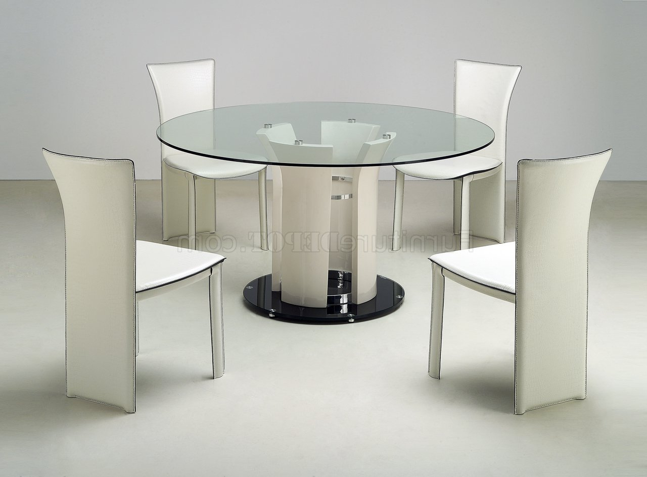 Modern Round Glass Top Dining Tables In Well Known Clear Round Glass Top Modern Dining Table W/optional Chairs (View 4 of 30)