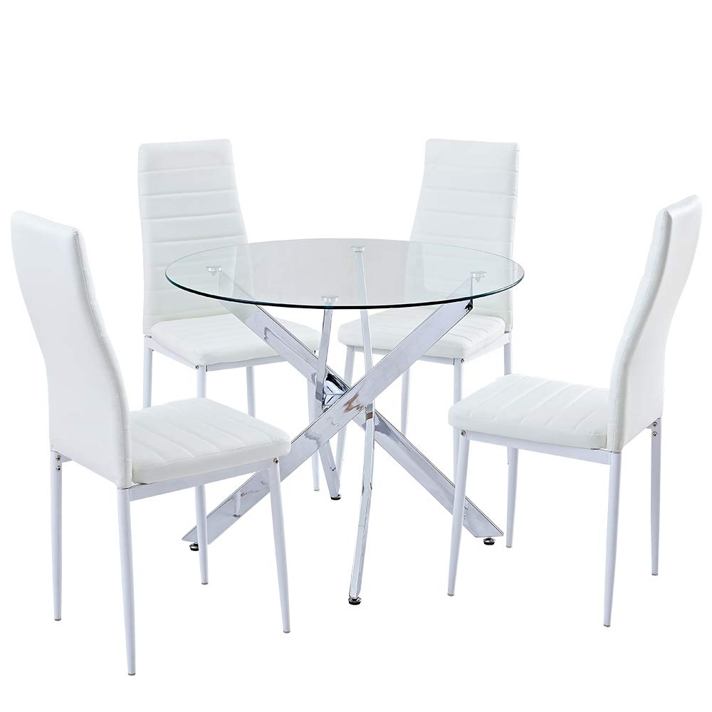 Modern Round Glass Top Dining Tables Regarding Widely Used Sicotas 5 Piece Round Dining Table Set,modern Kitchen Table And White Chairs For 4 Person,dining Room Table Set With Clear Tempered Glass Top, Dining (View 29 of 30)