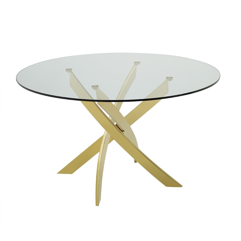 Modrest Pyrite – Modern Round Glass Dining Table For Most Popular Modern Gold Dining Tables With Clear Glass (View 17 of 30)