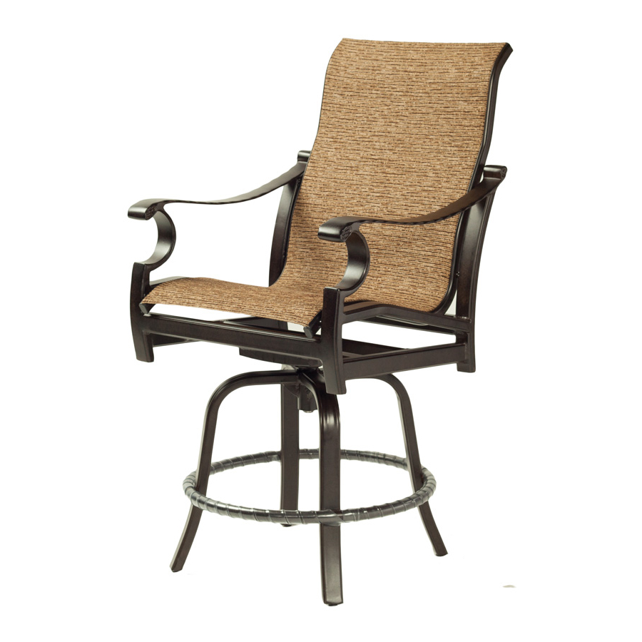 Monterey High Back Sling Swivel Counter Stool – Castelle With Regard To Well Known Padded Sling High Back Swivel Chairs (Gallery 15 of 30)