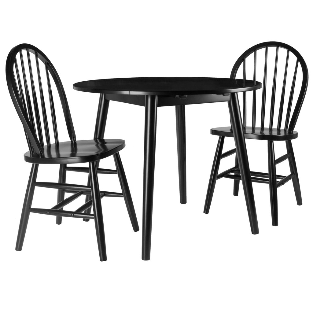 Moreno 3 Pc Set Drop Leaf Table With Chairs, Black Finish In Well Known Transitional 3 Piece Drop Leaf Casual Dining Tables Set (View 10 of 30)