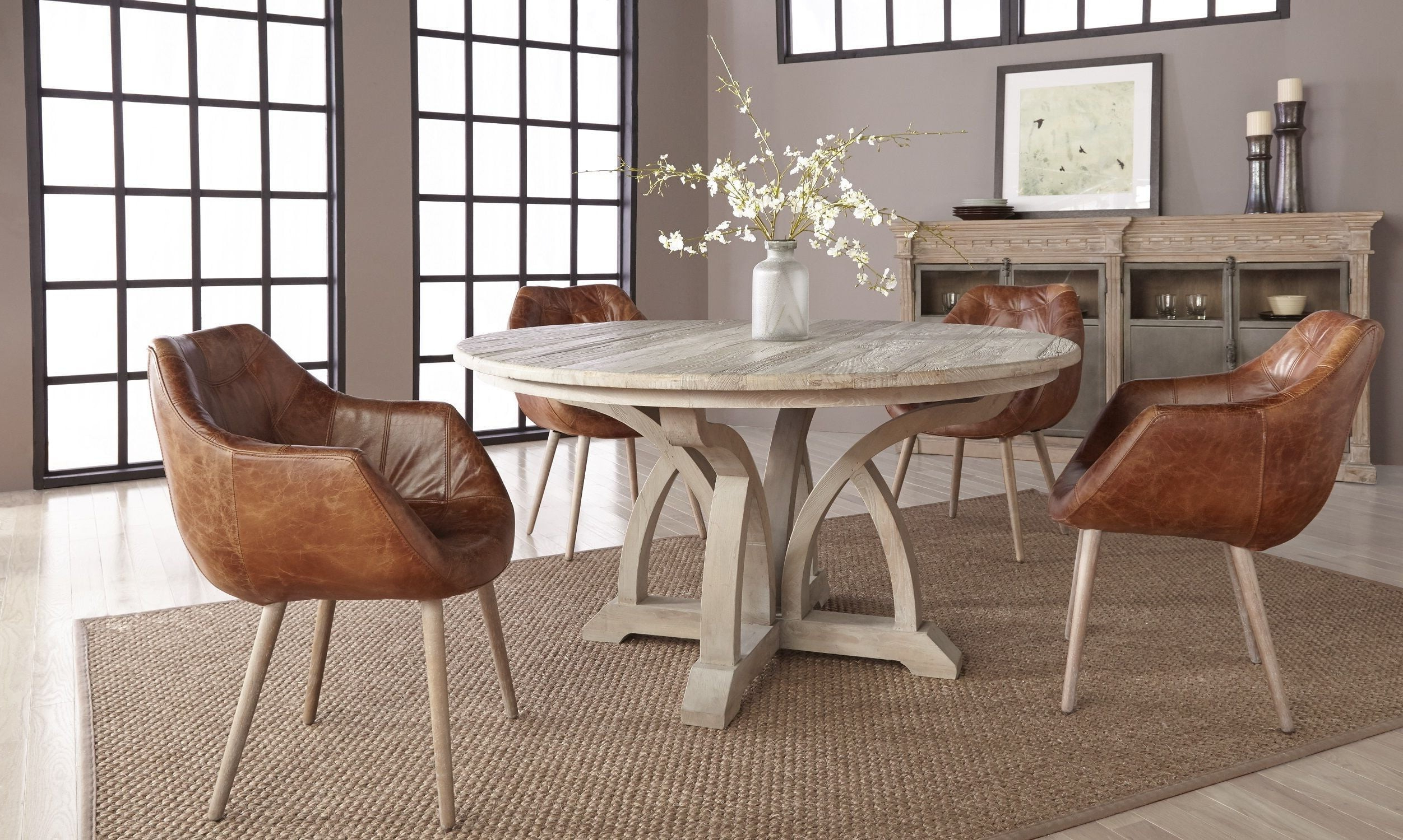 "Morris Round Dining Tables Throughout Best And Newest Carnegie Smoke Gray Elm 60"" Round Dining Room Set With Morris Chestnut Antique Leather Dining Chair (View 20 of 30)"