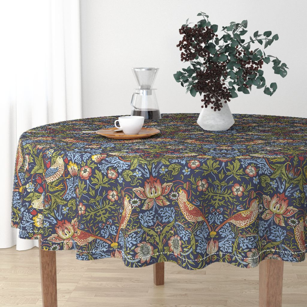Morris Round Dining Tables Throughout Preferred Round Tablecloth William Morris Strawberry Thiefpeacoquettedesigns Malay Cotton Sateen Round Tableclothroostery Spoonflower Fabric (View 6 of 30)