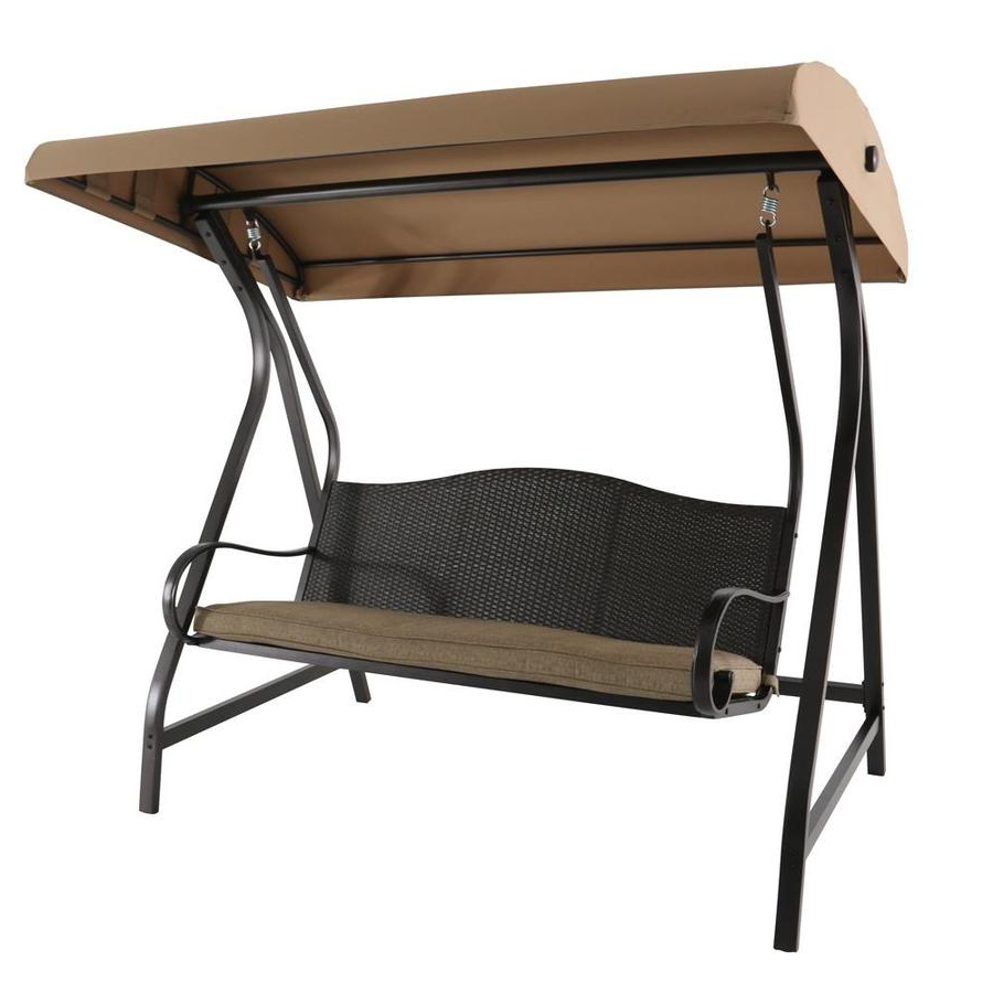 Most Current 2 Person Black Wood Outdoor Swings Regarding Porch Swings & Gliders At Lowes (Gallery 27 of 30)