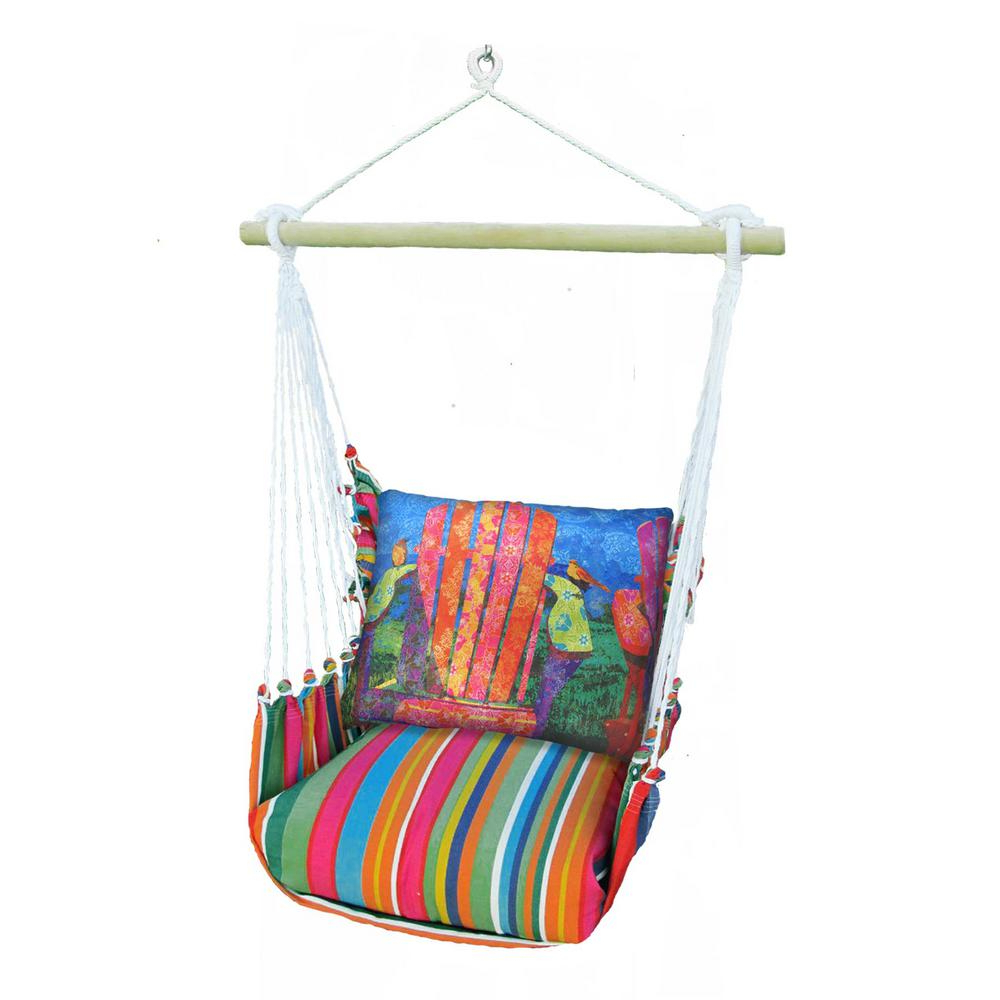 Most Current 3 Piece Wood Polyester Cushioned Porch Swing With Colorful Chair Print Back  Pillow In Cotton Porch Swings (Gallery 11 of 30)