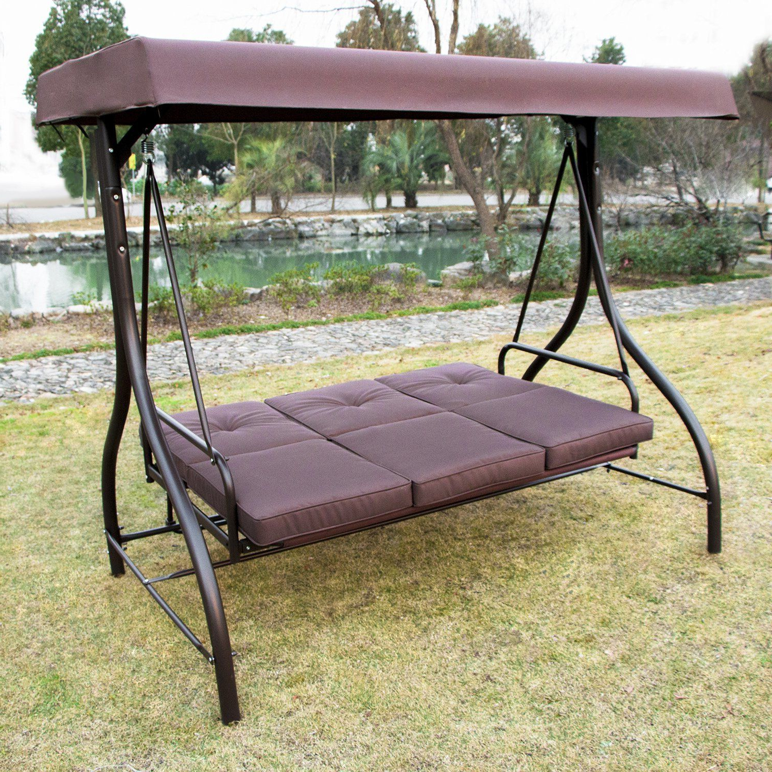 Most Current 3 Seats Patio Canopy Swing Gliders Hammock Cushioned Steel Frame Regarding Amazon : Summer Promotion Outdoor Garden Yard Patio (Gallery 29 of 30)