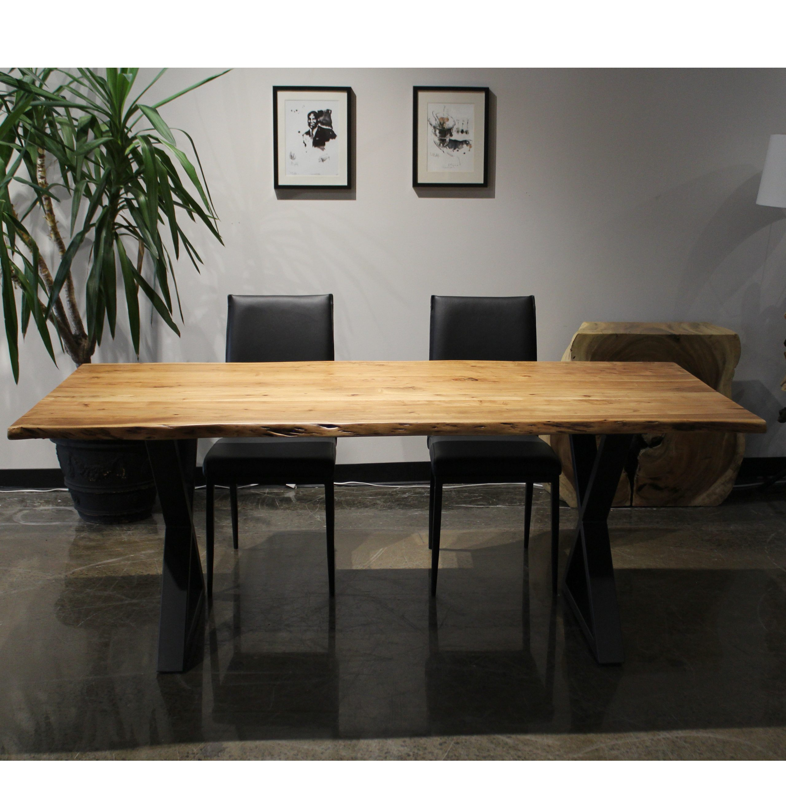 Most Current Acacia Dining Tables With Black Rocket Legs Within Corcoran Walnut Acacia Dining Table – 80 In – Black Metal U Legs (View 13 of 30)