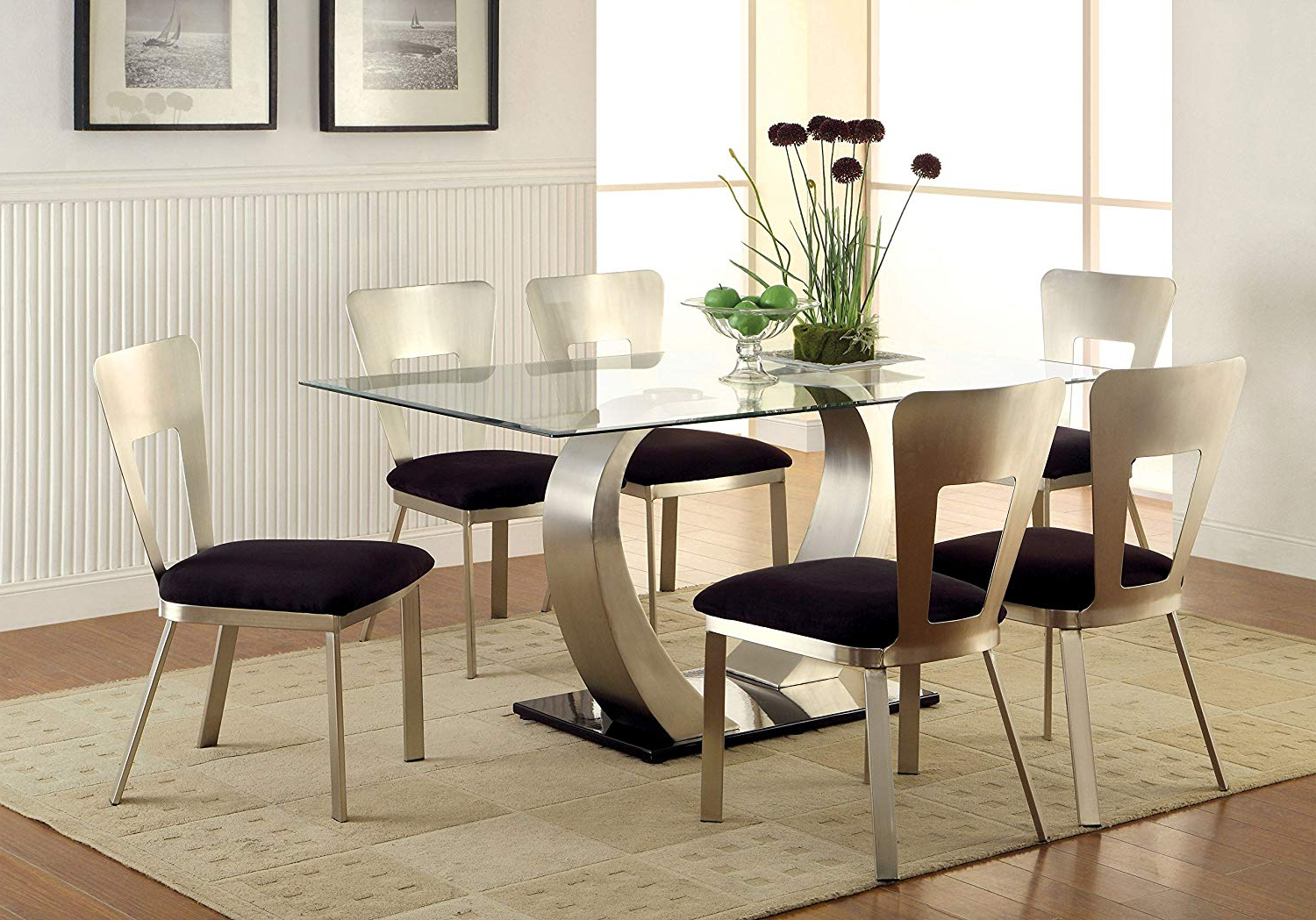 Most Current Amazon – Furniture Of America Alvados Ii 7 Piece In Rectangular Glasstop Dining Tables (View 30 of 30)