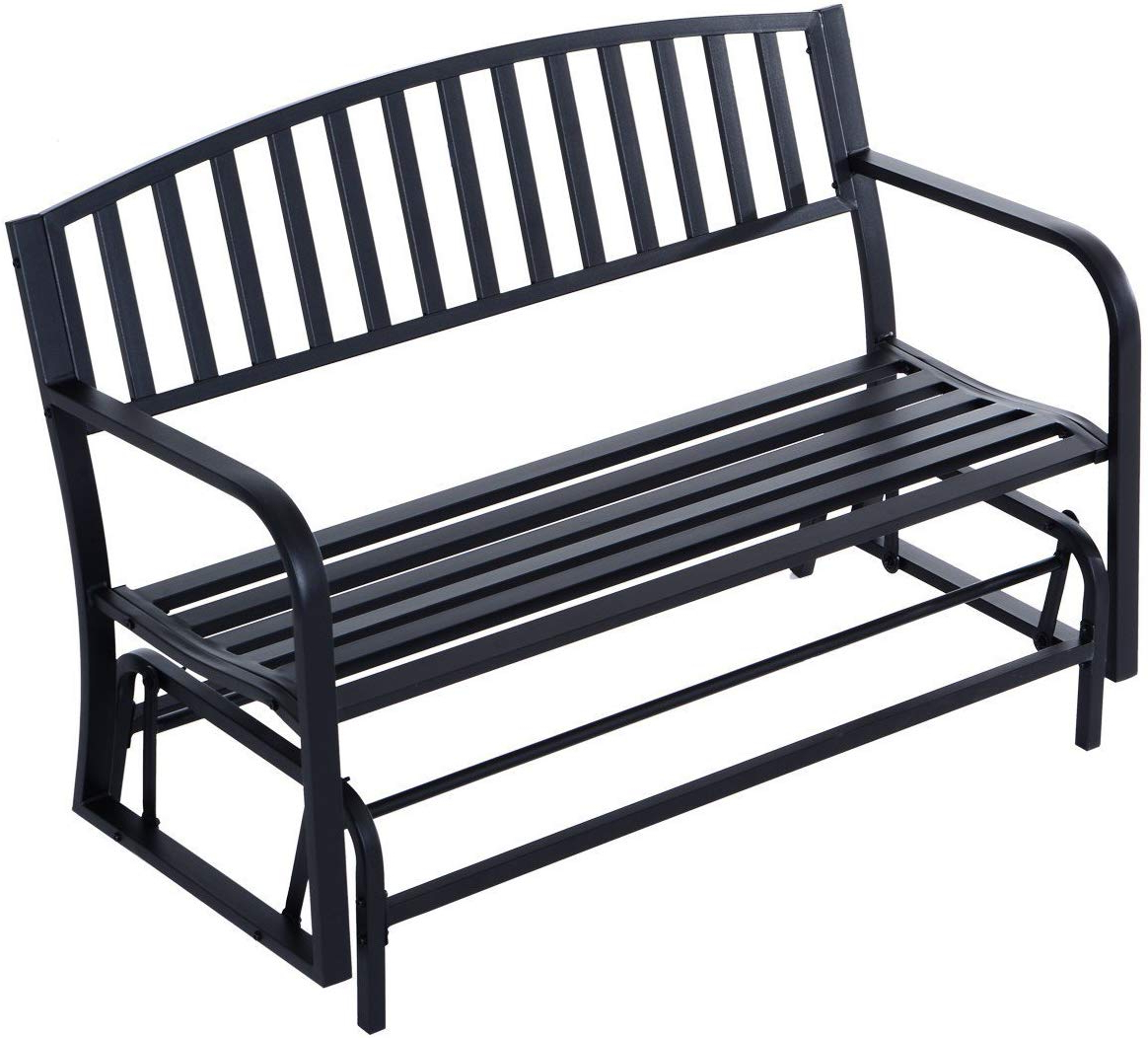 "Most Current Amazon : Outdoor Bench 50"" Steel Patio Swing Glider Throughout Black Steel Patio Swing Glider Benches Powder Coated (View 16 of 30)"