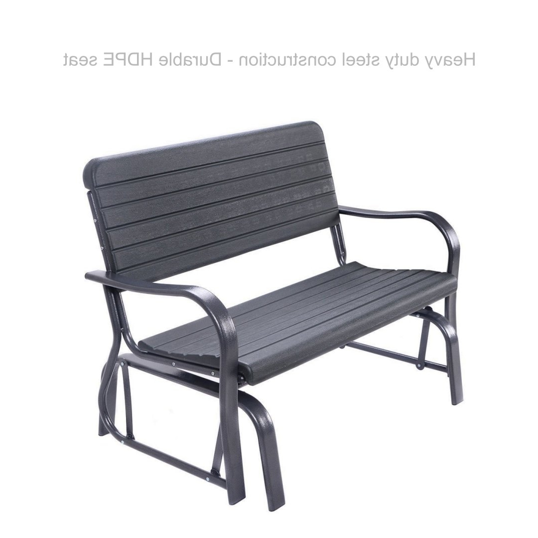 Most Current Black Outdoor Durable Steel Frame Patio Swing Glider Bench Chairs Intended For Amazon : Koonlert@shop Patio Outdoor Swing Porch Rocker (Gallery 3 of 30)