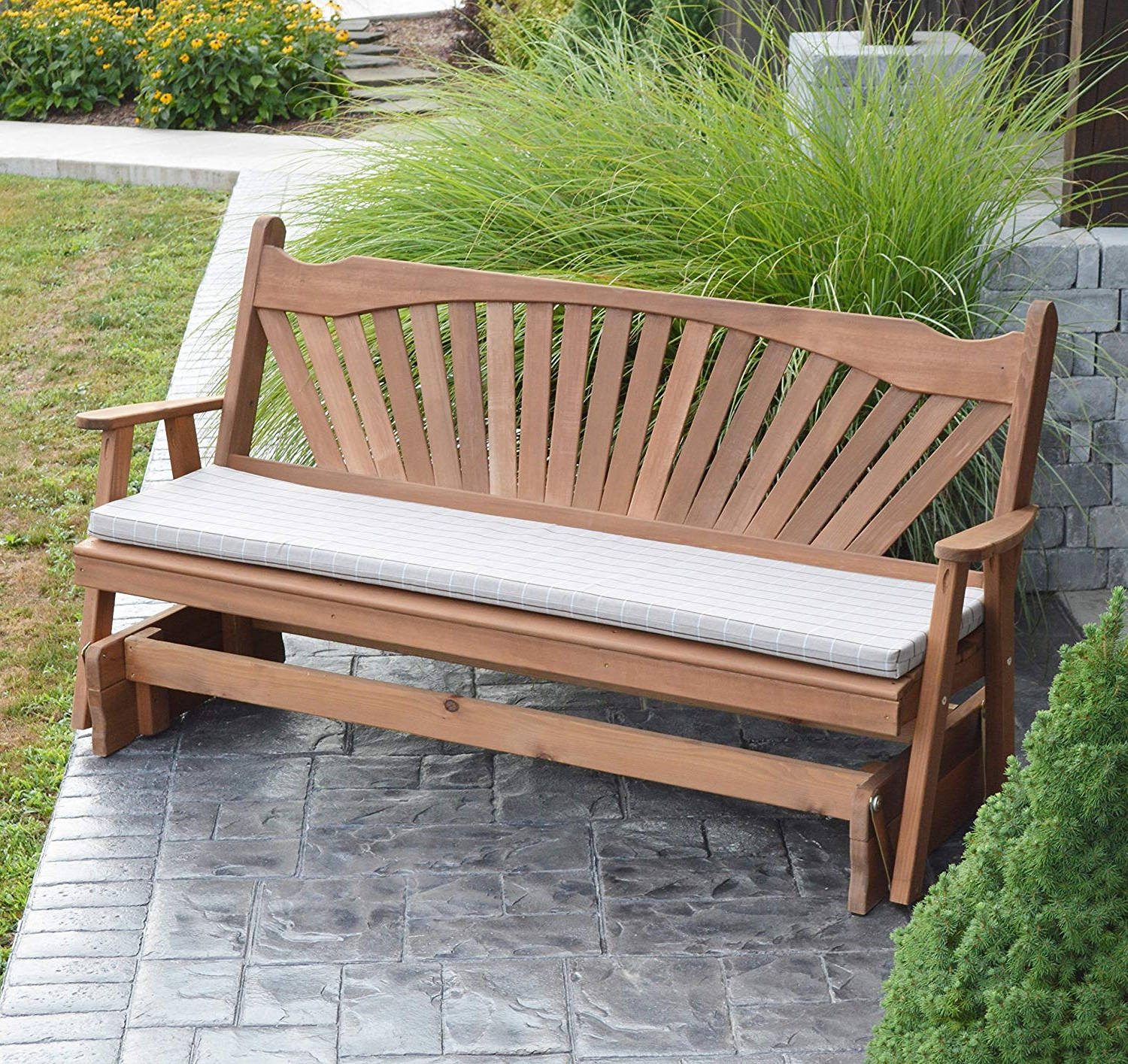 Most Current Cedar Porch Glider Bench Outdoor Patio Gliding Bench, 2 Person Wooden Loveseat Benches, Amish Made Furniture Weather Resistant Western Red Cedar Wood, For Cedar Colonial Style Glider Benches (Gallery 11 of 30)