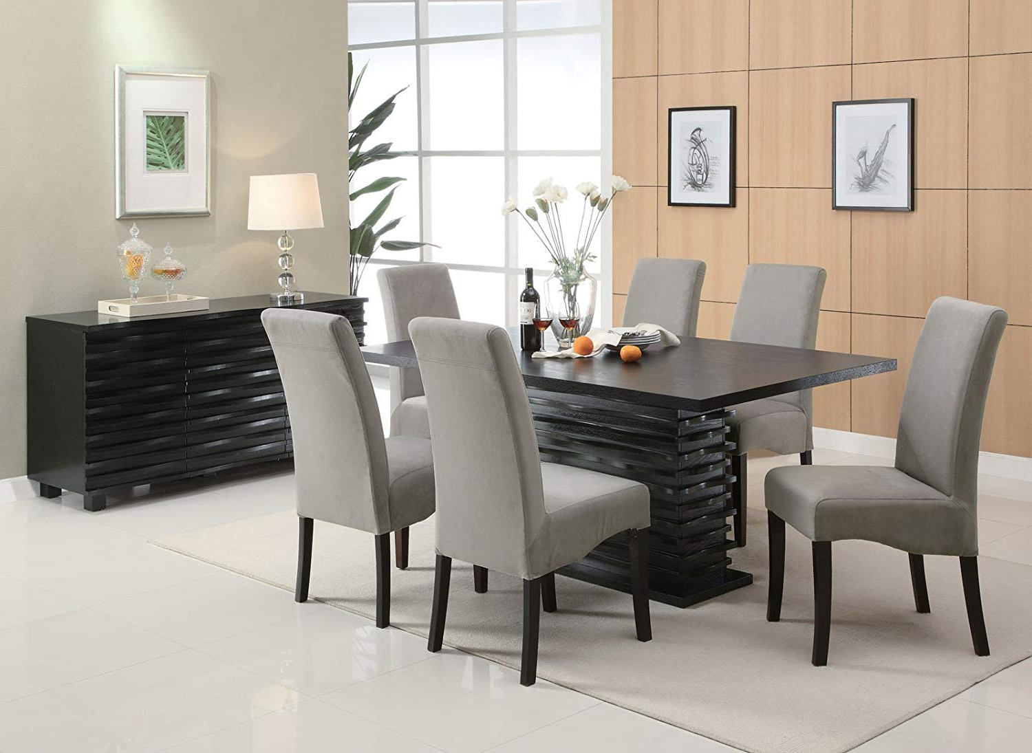 Most Current Coaster Dining Set, Black Pertaining To Coaster Contemporary 6 Seating Rectangular Casual Dining Tables (View 19 of 30)