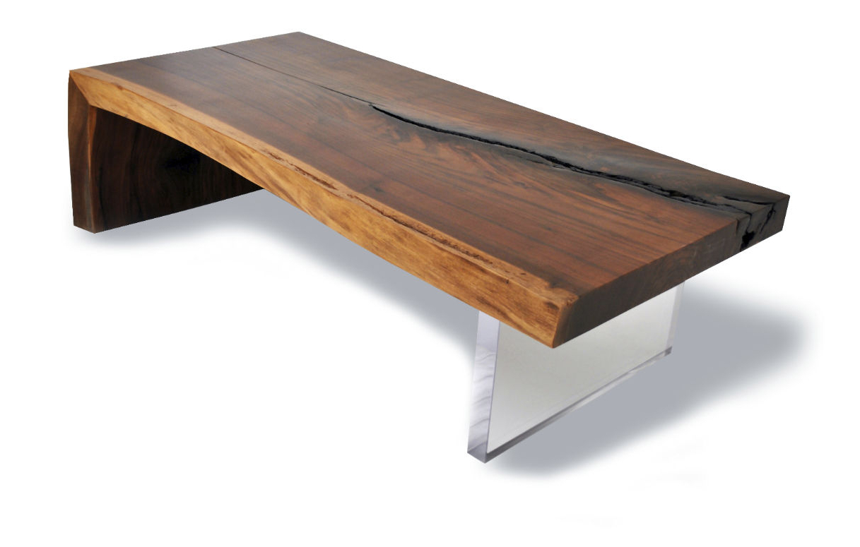 Most Current Contemporary Coffee Table / Wooden / Rectangular / In With Walnut Finish Live Edge Wood Contemporary Dining Tables (View 9 of 30)